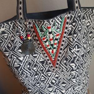 Catori denim bag with beading